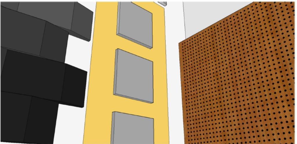 Adecuación acústica de sala. Detalle parcial de una de las soluciones acústicas implementadas